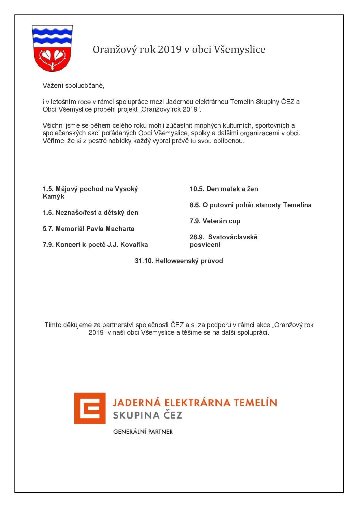 Seznam akcí a poděkování skupině ČEZ za finanční podporu.